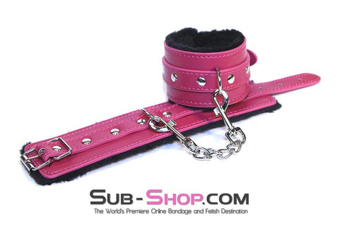 9048DL      Fur Lined Fuchsia Wrist Bondage Cuffs and Chain Set - Sale BDSM, Bondage Gear, Adult Toys, Bondage Sex, Orgasm Belt, Male Chastity, Gags. Bondage Slave Collars, Wrist Cuffs, Submissive, Dominant, Master, Mistress, Crossdresser, Sub-Shop Bondage and Fetish Superstore