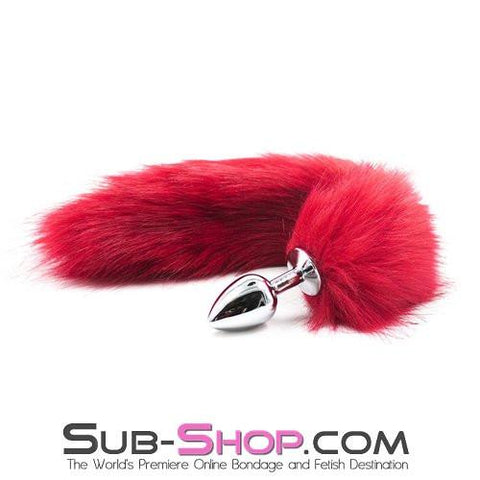 9332M      Hot Fox Small Chrome Butt Plug with Red Fur Tail