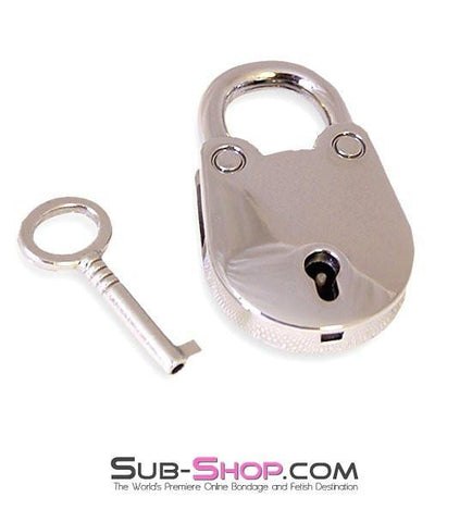 9728K      Jailer's Mini Padlock, Chrome - Sub-Shop Bondage and Fetish Superstore