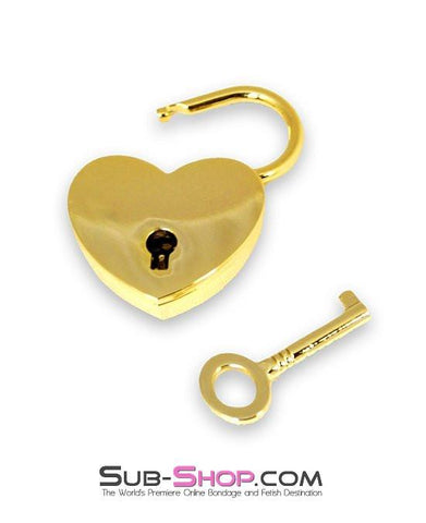 9736K      Gold Series Under Lock & Key Heart Padlock - Sale BDSM, Bondage Gear, Adult Toys, Bondage Sex, Orgasm Belt, Male Chastity, Gags. Bondage Slave Collars, Wrist Cuffs, Submissive, Dominant, Master, Mistress, Crossdresser, Sub-Shop Bondage and Fetish Superstore
