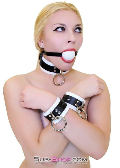 1502A       Thin Strap Buckling Ball Gag, Black Leather Strap, White Ball - Sale BDSM, Bondage Gear, Adult Toys, Bondage Sex, Orgasm Belt, Male Chastity, Gags. Bondage Slave Collars, Wrist Cuffs, Submissive, Dominant, Master, Mistress, Crossdresser, Sub-Shop Bondage and Fetish Superstore