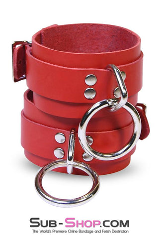 9744A     Lust Cuffs Locking Red Leather Wrist Cuffs - Sale BDSM, Bondage Gear, Adult Toys, Bondage Sex, Orgasm Belt, Male Chastity, Gags. Bondage Slave Collars, Wrist Cuffs, Submissive, Dominant, Master, Mistress, Crossdresser, Sub-Shop Bondage and Fetish Superstore