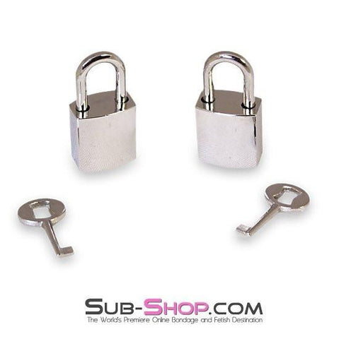 9749A      Chrome Bondage Gear Padlocks Pair - Sale BDSM, Bondage Gear, Adult Toys, Bondage Sex, Orgasm Belt, Male Chastity, Gags. Bondage Slave Collars, Wrist Cuffs, Submissive, Dominant, Master, Mistress, Crossdresser, Sub-Shop Bondage and Fetish Superstore
