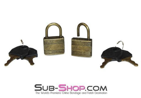 9758A      Bondage Gear Padlock, Antiqued Brass <b>Black Friday Blowout!</b>