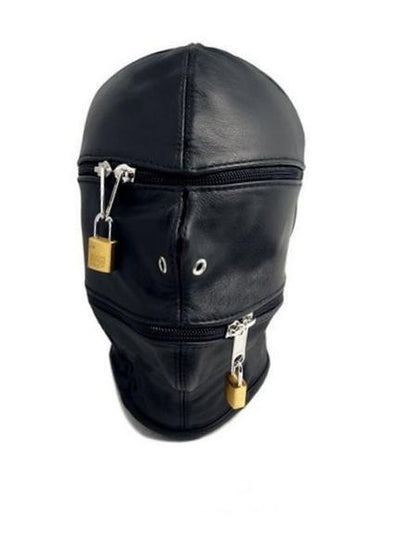 9773M      Zipper Head Locking Zipper Eyes and Mouth Slave Hood - Sale BDSM, Bondage Gear, Adult Toys, Bondage Sex, Orgasm Belt, Male Chastity, Gags. Bondage Slave Collars, Wrist Cuffs, Submissive, Dominant, Master, Mistress, Crossdresser, Sub-Shop Bondage and Fetish Superstore