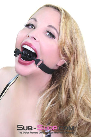 Small Black Silicone Locking Breather Ball Gag - Sale BDSM, Bondage Gear, Adult Toys, Bondage Sex, Orgasm Belt, Male Chastity, Gags. Bondage Slave Collars, Wrist Cuffs, Submissive, Dominant, Master, Mistress, Crossdresser, Sub-Shop Bondage and Fetish Superstore