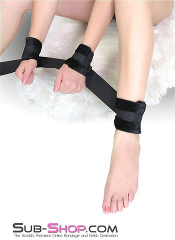 9827M      Fur Lined Nylon Wrist and Ankles Connected Bondage Set - <b>Black Friday Blowout!</b> - Sub-Shop Bondage and Fetish Superstore