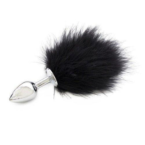 9829M      Bunny Butt Chrome Plug with Black Puff Tail - <b>MEGA Deal</b>