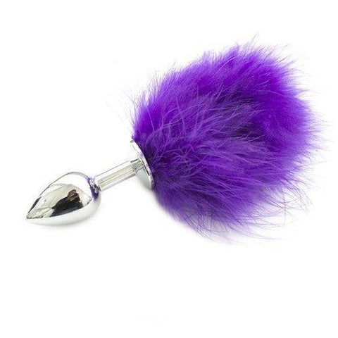 9830M      Bunny Butt Chrome Plug with Purple Puff Tail - Sale BDSM, Bondage Gear, Adult Toys, Bondage Sex, Orgasm Belt, Male Chastity, Gags. Bondage Slave Collars, Wrist Cuffs, Submissive, Dominant, Master, Mistress, Crossdresser, Sub-Shop Bondage and Fetish Superstore