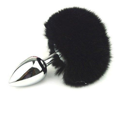 9831M      Bunny Hop Black Powder Puff Tail with Medium Chrome Butt Plug - <b>MEGA Deal!</b> - Sale BDSM, Bondage Gear, Adult Toys, Bondage Sex, Orgasm Belt, Male Chastity, Gags. Bondage Slave Collars, Wrist Cuffs, Submissive, Dominant, Master, Mistress, Crossdresser, Sub-Shop Bondage and Fetish Superstore