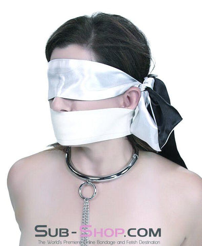 9835M      Love Me Knots Silver & Black Satin Blindfold, Gag, or Tie Up