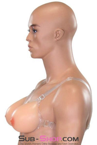 9877RS   Gia Real Feel Silicone Breast Forms with Nipples and Clear Straps, DD Cup - <b>MEGA Deal</b> - Sale BDSM, Bondage Gear, Adult Toys, Bondage Sex, Orgasm Belt, Male Chastity, Gags. Bondage Slave Collars, Wrist Cuffs, Submissive, Dominant, Master, Mistress, Crossdresser, Sub-Shop Bondage and Fetish Superstore
