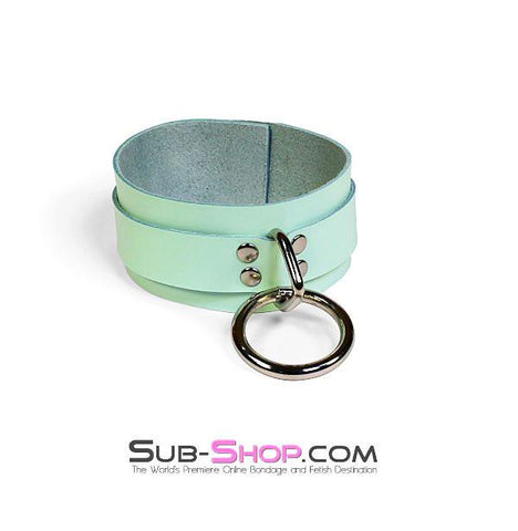 988A     I Like It Rough Retro Mint Green Leather Bondage Collar - Sale BDSM, Bondage Gear, Adult Toys, Bondage Sex, Orgasm Belt, Male Chastity, Gags. Bondage Slave Collars, Wrist Cuffs, Submissive, Dominant, Master, Mistress, Crossdresser, Sub-Shop Bondage and Fetish Superstore