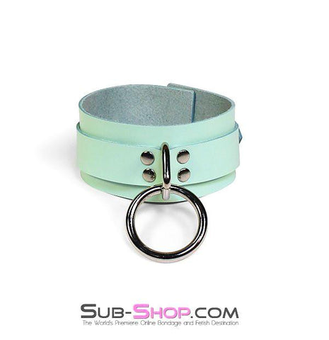 988A     I Like It Rough Retro Mint Green Leather Bondage Collar - Sub-Shop.comCollar - 8