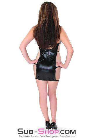 9895RS     Barely There Wet Look Mini Dress with Cutout Strappy Sides - Sale BDSM, Bondage Gear, Adult Toys, Bondage Sex, Orgasm Belt, Male Chastity, Gags. Bondage Slave Collars, Wrist Cuffs, Submissive, Dominant, Master, Mistress, Crossdresser, Sub-Shop Bondage and Fetish Superstore
