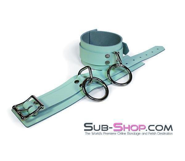 989A     I Like It Rough Retro Mint Green Leather Bondage Wrist Cuffs - Sale BDSM, Bondage Gear, Adult Toys, Bondage Sex, Orgasm Belt, Male Chastity, Gags. Bondage Slave Collars, Wrist Cuffs, Submissive, Dominant, Master, Mistress, Crossdresser, Sub-Shop Bondage and Fetish Superstore