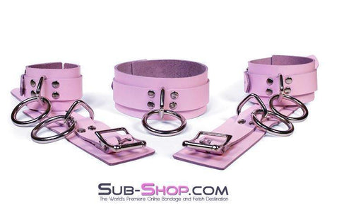 993A      Captured Beauty Princess Pink Leather Bondage Ankle Cuffs - Sub-Shop.comWrist and Ankle Bondage - 10