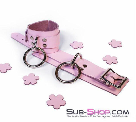 992A      Captured Beauty Princess Pink Leather Bondage Wrist Cuffs - Sub-Shop Bondage and Fetish Superstore
