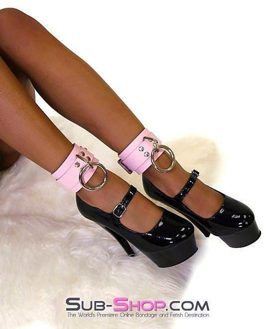993A      Captured Beauty Princess Pink Leather Bondage Ankle Cuffs - Sub-Shop.comWrist and Ankle Bondage - 4