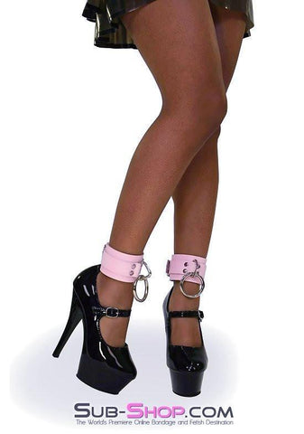993A      Captured Beauty Princess Pink Leather Bondage Ankle Cuffs - Sub-Shop.comWrist and Ankle Bondage - 6