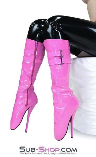 "9981R      Bondage Bombshell Hot Pink Knee High 8"" Ballet Heel Boots - <b>Deal FRENZY!</b> - Sale BDSM, Bondage Gear, Adult Toys, Bondage Sex, Orgasm Belt, Male Chastity, Gags. Bondage Slave Collars, Wrist Cuffs, Submissive, Dominant, Master, Mistress, Crossdresser, Sub-Shop Bondage and Fetish Superstore"