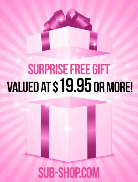 1104A       Surprise FREE Gift - Value up to $19.95! - Sale BDSM, Bondage Gear, Adult Toys, Bondage Sex, Orgasm Belt, Male Chastity, Gags. Bondage Slave Collars, Wrist Cuffs, Submissive, Dominant, Master, Mistress, Crossdresser, Sub-Shop Bondage and Fetish Superstore