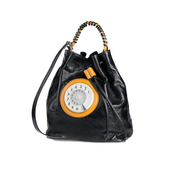 Bucket phone bag nero giallo