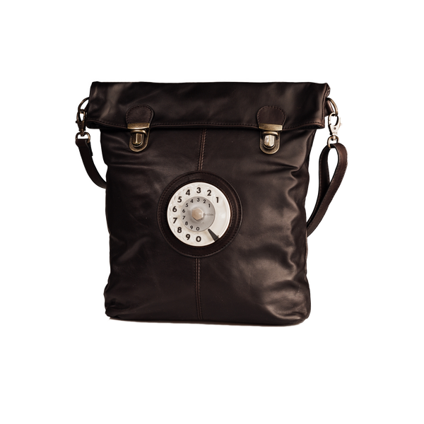Flat phone bag waxy dark brown