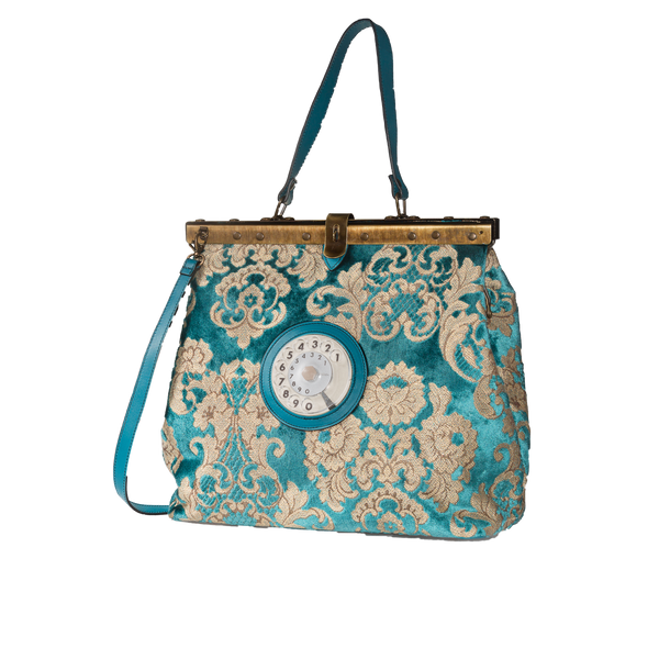 Mary phone bag broccato turchese
