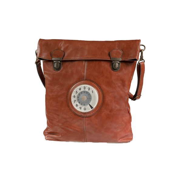 Flat phone bag tan leather
