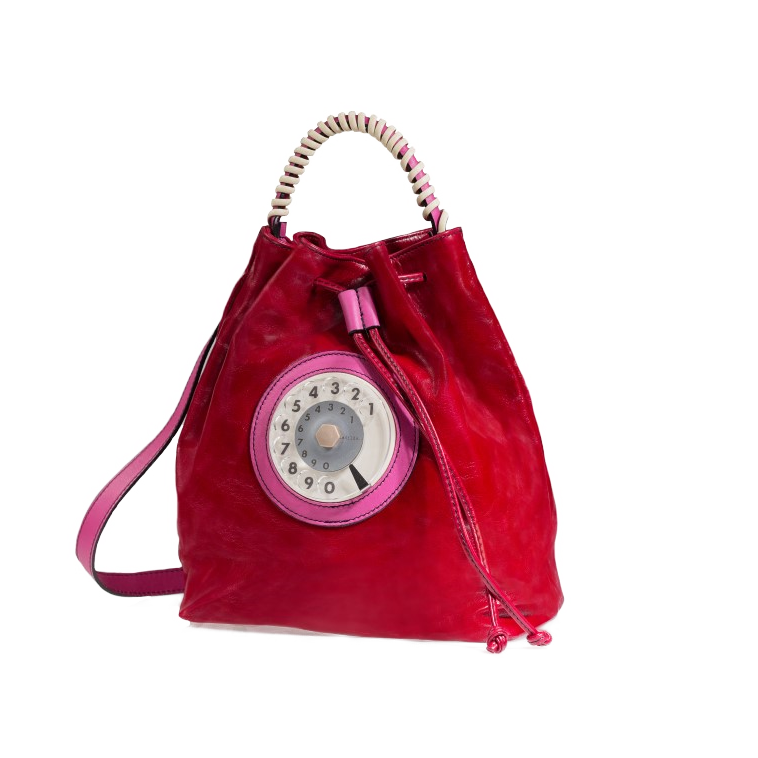 Bucket phone bag rosso fucsia