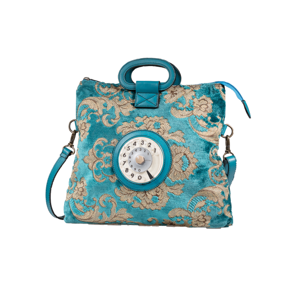 Emma phone bag broccato turchese