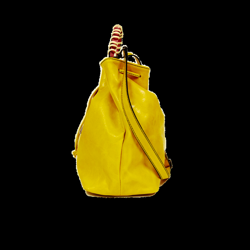 Bucket phone bag yellow fuchsia