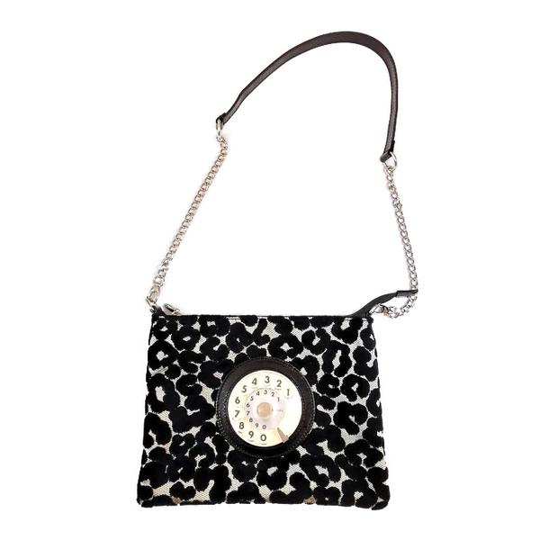 Lucky phone bag silver easy leopardino nero