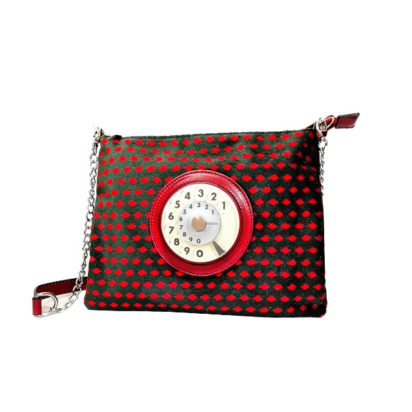 Lucky phone bag silver easy rombo rosso