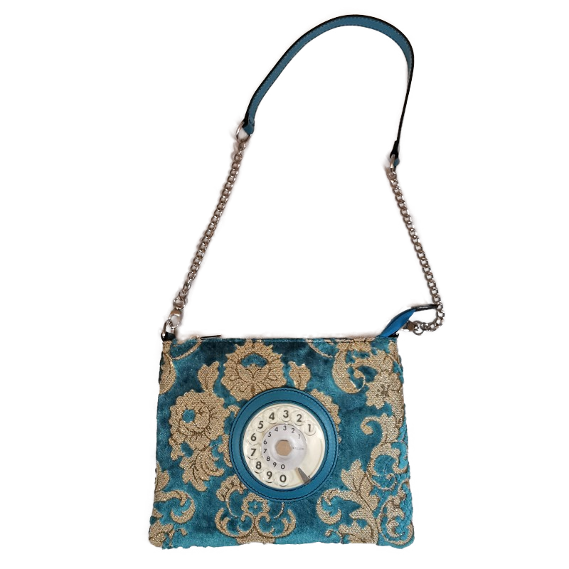 Lucky phone bag silver easy broccato turchese