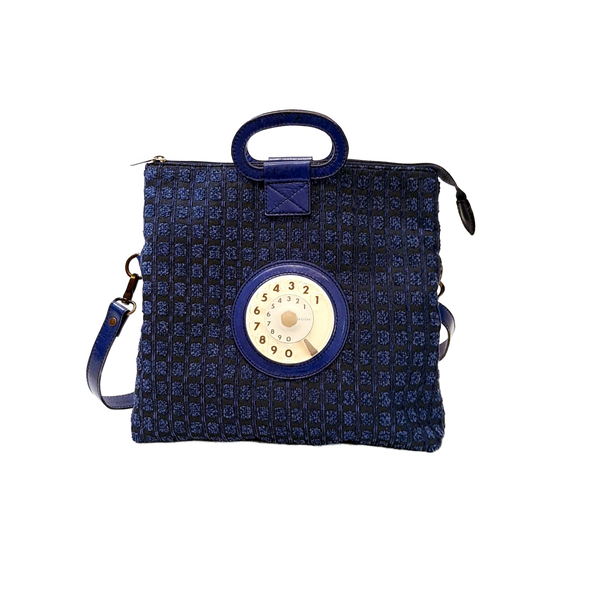 Emma phone bag quadratini blu