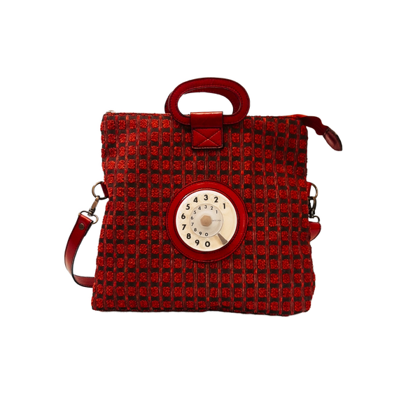 Emma phone bag quadratini rossi