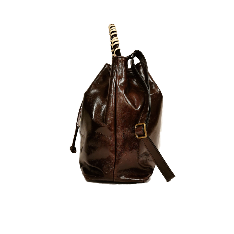 Bucket phone bag dark brown