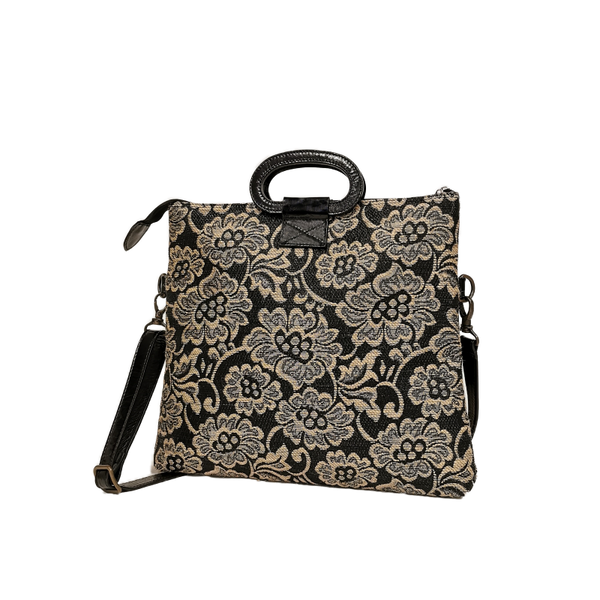 Emma phone bag raffia nero