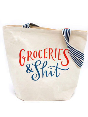 Groceries & Shit Large Canvas Tote