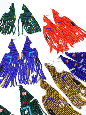 Beaded Woven Fringe Earrings - Red