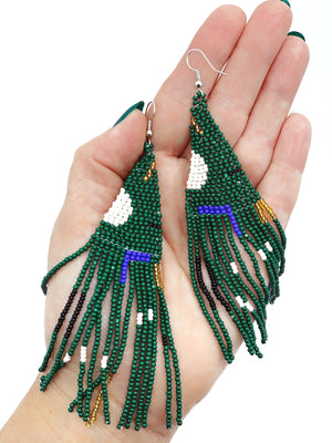 Beaded Woven Fringe Earrings - Aqua + Pink