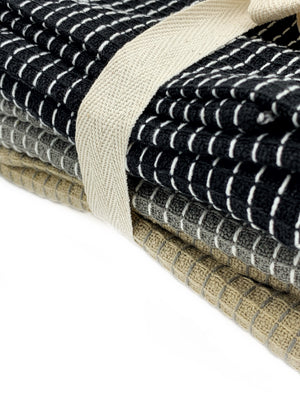 Set of Three Woven Kitchen Towels - Neutrals