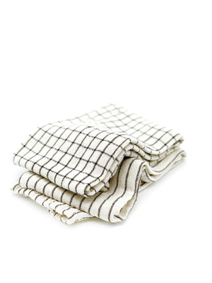 Cotton Kitchen Towel Natural + Black
