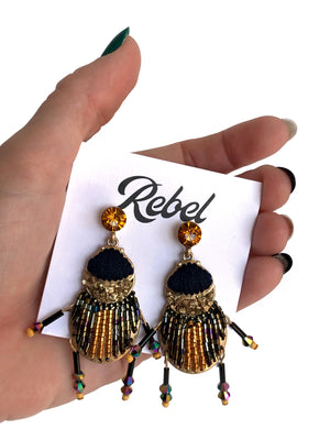Beaded Beetle Earrings
