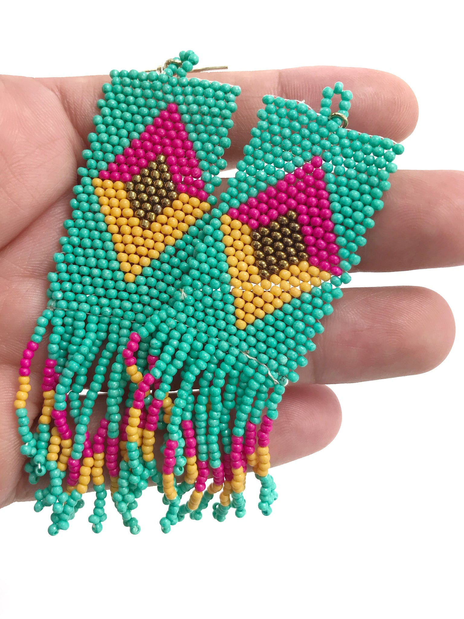 Beaded Geometric Fringe Earrings - Aqua + Pink