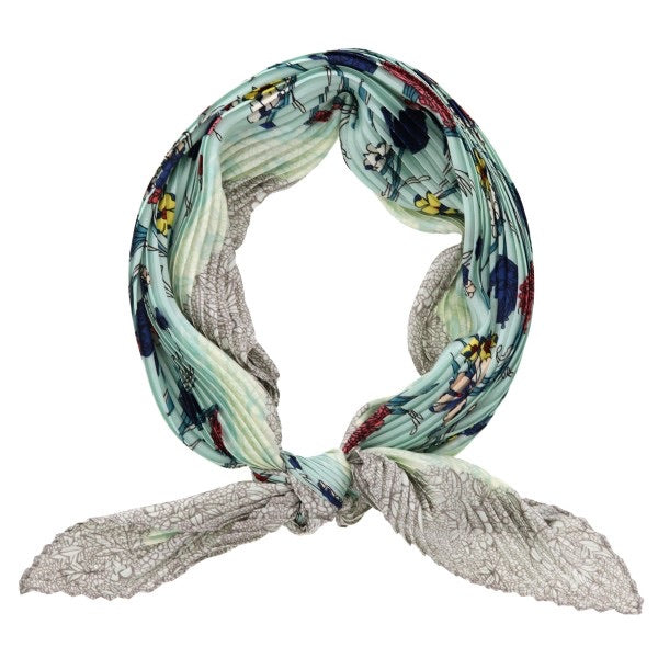 "Silky Pleated Neckerchief ""Forget-Me-Not"""