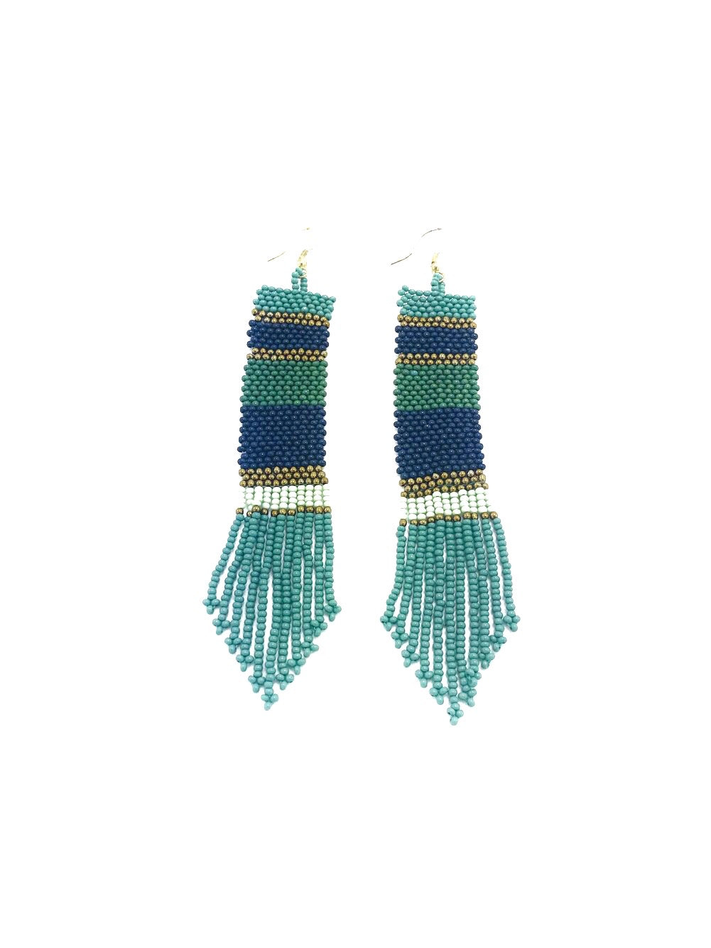 Beaded Stripe Earrings- Teal + Navy