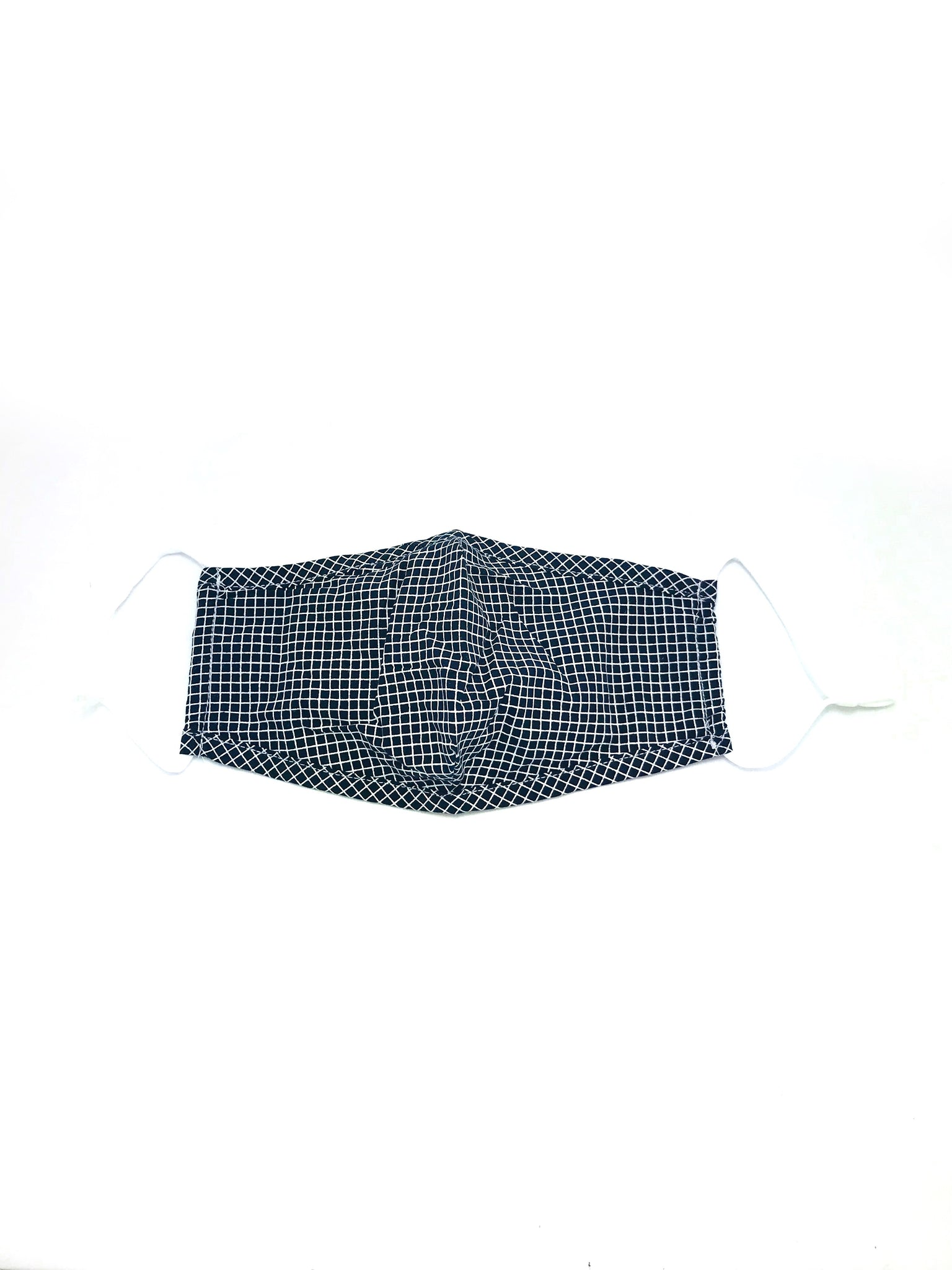 Adult Face Mask- Navy + White Check